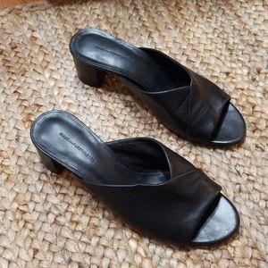 Diane Von Fursenburger Black Leather Block Heel